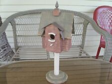 Handcrafted Wooden Bird Home Wth Old Tin Room Porch Decoration