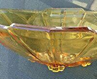 Art Déco Schale Engl  Pressglas antik Amber Raute Bernstein Obstschale Eiskübel
