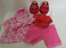 Lot Of 5 Build A Bear Clothes Pink Heart Hooded Shirt,Pants,Panty,Red Shoes,Bow