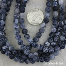 8MM Frosted Dream Fire Dragon Veins Agate Stone Round Loose Beads Strand 15""