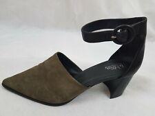 fb1999fb1721 Wittner 42 Danita Black Khaki Suede Leather Block Heels pointed toe ankle  strap