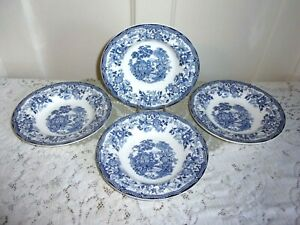 4 English Royal Staffordshire Blue Clarice Cliff  TONQUIN 8 Inch Soup Bowls