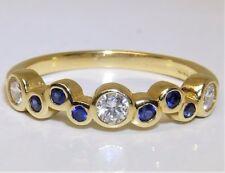 0.4CT DIAMOND SAPPHIRE ETERNITY RING 9 STONE 18 CARAT YELLOW GOLD 18CT BAND RING