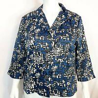 Dressbarn Plus Sz 18/20 Stretch Black White Blue Button Front Blazer Jacket