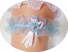 Strumpfband Braut Hochzeit hell-blau mit Strass Organza