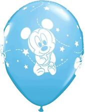 "6 x Disney Baby Mickey mouse Light blue / white Latex 12"" Balloons"