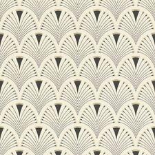 Retro Art Deco Fan Arch Design Black Cream Wallpaper Vinyl Paste Wall Glitter