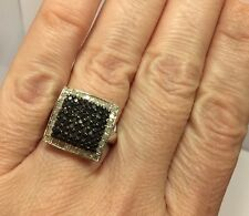 New Large Sterling Silver 1 Ct Black Diamond Pave Wedding Square Cocktail Ring 7