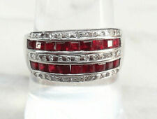 CERTIFIED 9ct White Gold 5-Row 1.33ct Diamond & Ruby Ring ~ 4.47gms ~UK P1/2
