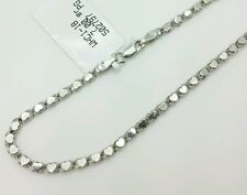 "14k Solid White Gold Heart Link Bracelet Chain 7"" 2.9mm Women"