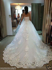 Luxury Beading White/Ivory Lace Wedding Dresses Ball Gown Strapless Bridal Gowns