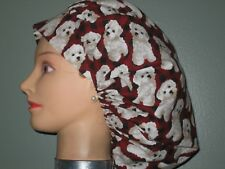 Surgical Scrub Hats/Caps  White puppies on red plaid