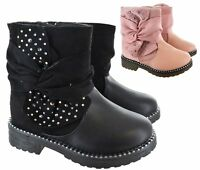 KIDS GIRLS INFANT CHILDRENS WARM WINTER FUR LINED ZIP ANKLE STUDDED BOOTS SIZE
