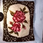 """Hooked Vintage Rug 28x21"""" Red Roses Leaves Green Handmade New Old Stock"""