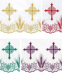 """Set of 4 Gold Red Purple Green Embroidered Bread of Life Altar Frontal 50"""" x 96"""""""