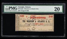 GENUINE 1862 50¢ WESTERN & ATLANTIC RAILROAD BANK NOTE PMG GRADED 20 VERY FINE