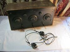 GAROD NEUTRODYNE RAF ANTIQUE TUBE RADIO & HEADSET VINTAGE ELECTRONICS