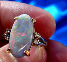 Australian Opal Deco engagement wedding ring green blue red yellow orange black