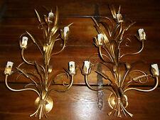 Luminaire Vintage 70 Rare paire d'appliques Épis de blé. Dans le Goût de. NoSign