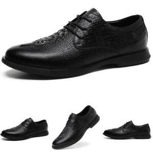 Mens Dress Formal Business Leisure Shoes Crocodile pattern Oxfords Derby Work L