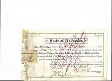 1886 Republic Valley, Kansas & South Western  RR Stock Certificate- Nebraska