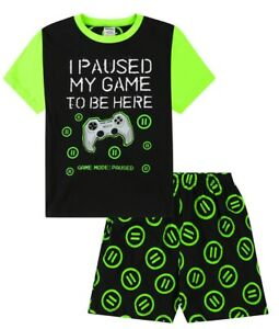 Boys I Paused My Game To Be Here Black Green Short  Pyjamas 9 to 15 Years 1239
