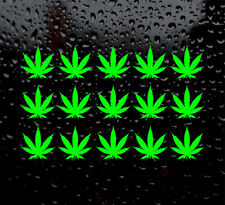 15 detailed mini cannabis leaf vinyl sticker decal weed pot hash ganja set