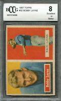 1957 topps #32 BOBBY LAYNE detroit lions BGS BCCG 8