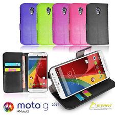 Wallet Flip Leather Case Cover for Motorola Moto G 2 nd Gen 2014 + Sc Gd