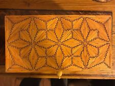 Vintage Tramp Art - Folk Art - Match Stick Jewelry Box Ornate with Bone Handles