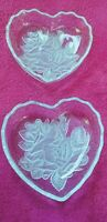 Pair of Clear Glass Scalloped Candy/Salad/Dessert Bowls w/Embossed Roses