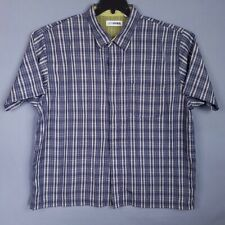 Canyon River Blues Shirt Mens 2XL Blue Plaid Short Sleeve Button Front Casual