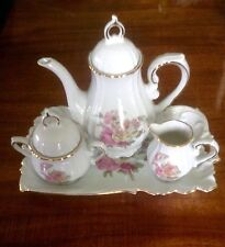 Wimrose Collection Hand Decorated Tea Pot, Plate, Sugar Bowl And Creamer