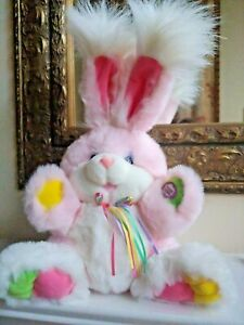 "Dan Dee Bunny Rabbit Easter Pink Plush Stuffed 15"" Shakes Cheeks Glow Huge Ears"