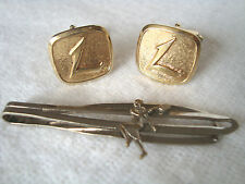 Pair Vintage Gold tone Cufflinks with Inlaid L +GIFT Tennis club Tie Clips Clap