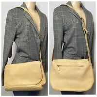 Vintage Coach Beige Pebble leather Cross-body Medium Shoulder Handbag Messenger