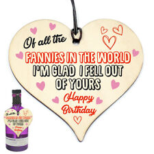 Funny Rude Birthday Gifts Novelty Wooden Heart Gift For Mum Daughter Son