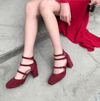 Women Round Toe Chunky Mid Heels Strap Buckle Mary Jane Casual Party Suede Shoes