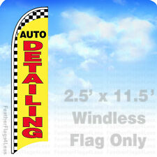 Auto Detailing Windless Swooper Flag Feather Banner Sign 2.5x11.5 checkered yb