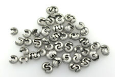 100 Antique Silver Plated Crimp Tube Bead Covers 3MM