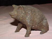 VINTAGE   OLD CAST IRON HOG PIG  COIN BANK