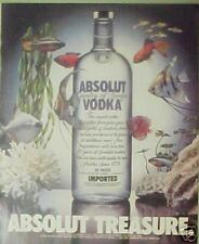 1987 Absolut Vodka Bottle Tropical Angel Fish Aquarium Colorful Art Treasure AD