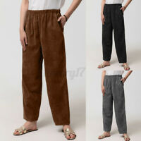 Womens Corduroy Pants Casual Trousers Loose Elastic Waist Pockets Plus Size 8-26