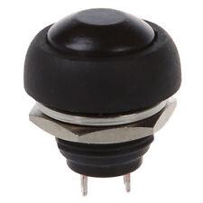 Montaggio a filo da 12mm SPST ON / OFF interruttore a pulsante rotondo nero Y0Q8