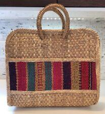 Vintage 60s Market Beach Basket Bag Woven Raffia Straw Mexico Tote Boho Retro #1