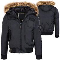 Outdoor Chaqueta De Hombre Cazadora chaquetón invierno con capucha cuello piel