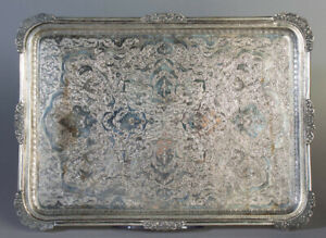 1110 GRAMS ANTIQUE PERSIAN SOLID SILVER TRAY ARABIC ISLAMIC