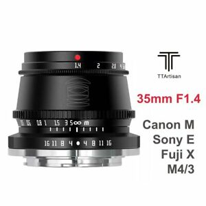 TTArtisan 35mm F1.4 APS-C Manual Lens For Fuji X Mount Sony E Canon M M4/3 Leica
