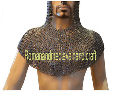 Chain Mail Coif Flat Riveted with Flat Washer Coif 9 mm SCA Knight Hood A1
