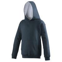Boys Girls Plain Hoodie Childrens Kids Ages 1- 15 Hooded Fleece Sweatshirt Top